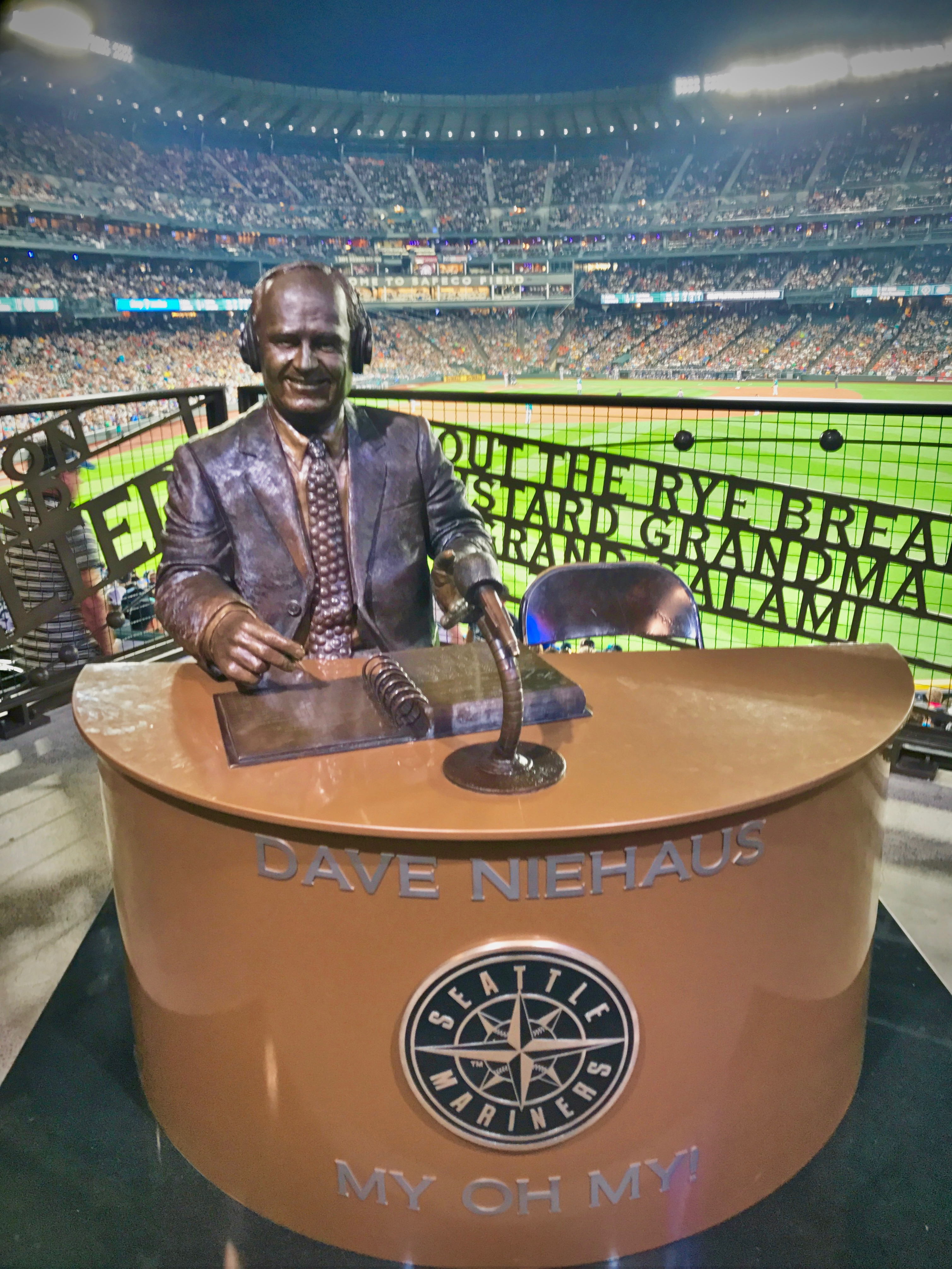 The Dave Niehaus statue at Safeco Field.  Photo by Patrick Robinson