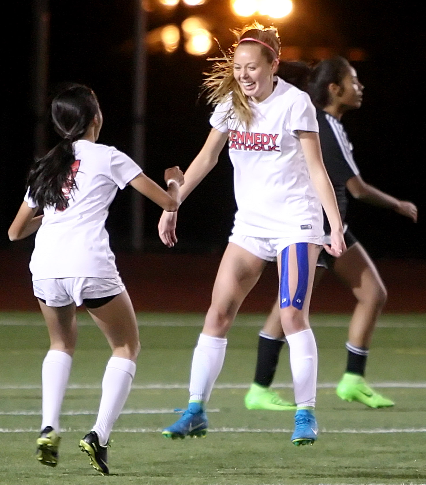 Bailey Hall (right) of Kennedy Catholic is all smiles after scoring the only goal in the game.