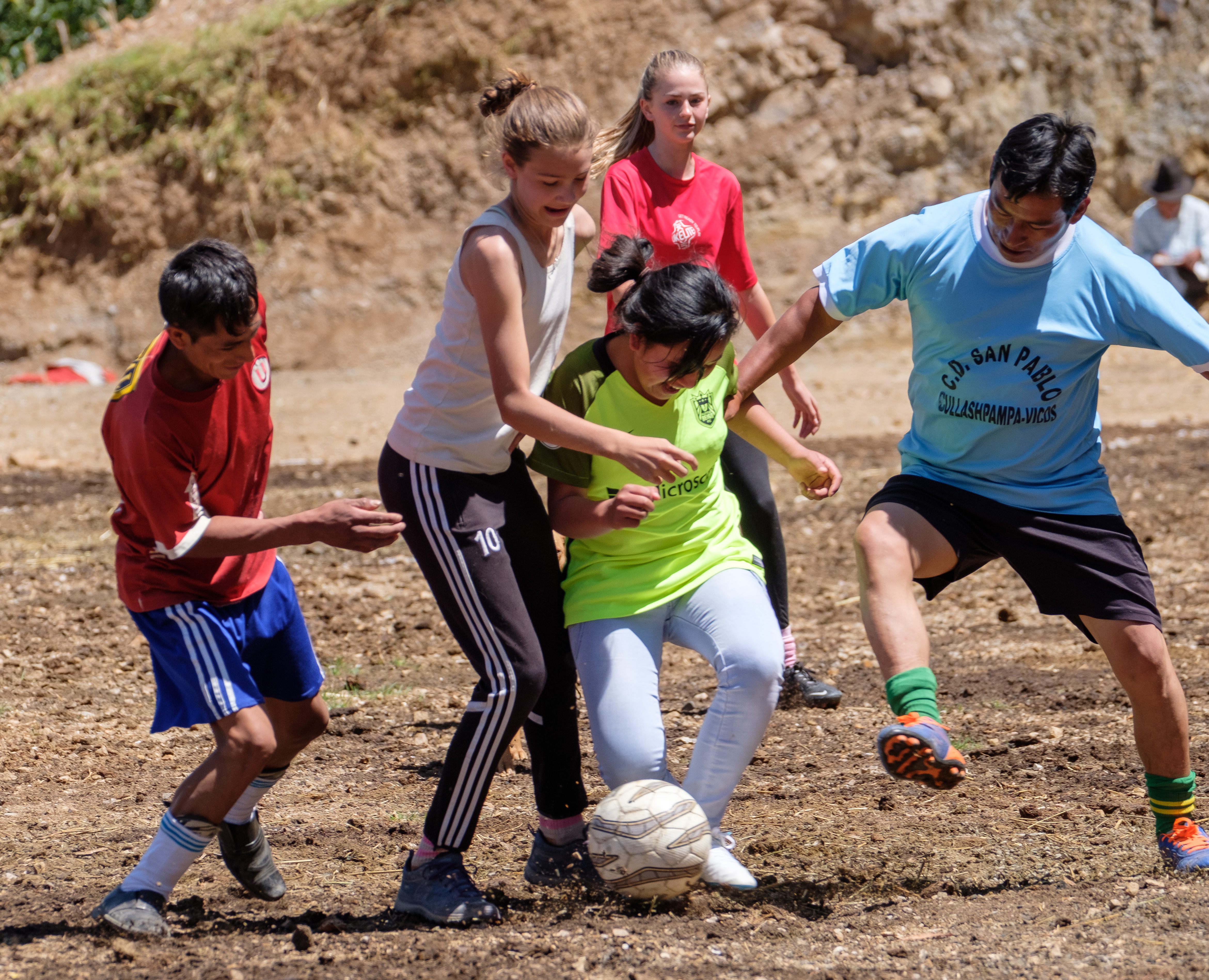 West Seattle resident Lucy Gerston played soccer against villagers in Vicos, Peru – while working on a project building a sportsfield with local non-profit Crooked Trails.