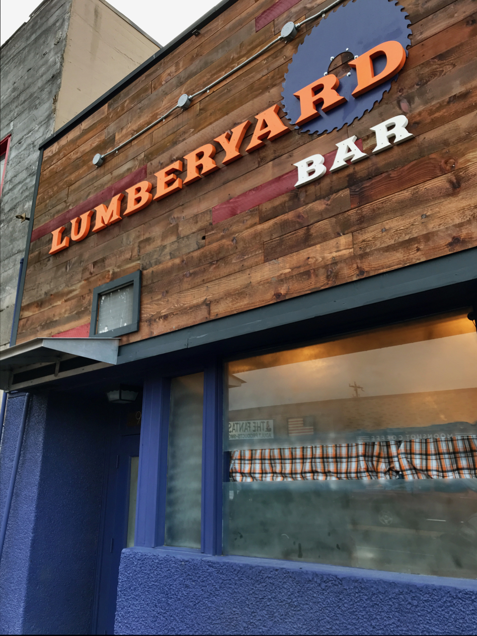 Outside signage for the Lumberyard Bar in White Center.