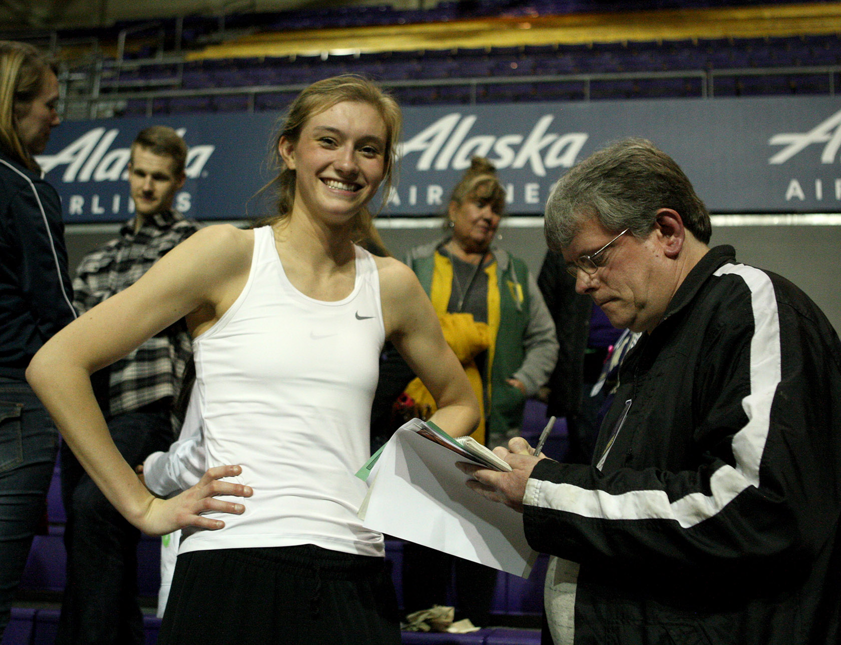 Lydia Giomi of Oregon is all smiles after the win as she is interviewed by Westside Seattle's Sports Editor Tim Clinton.