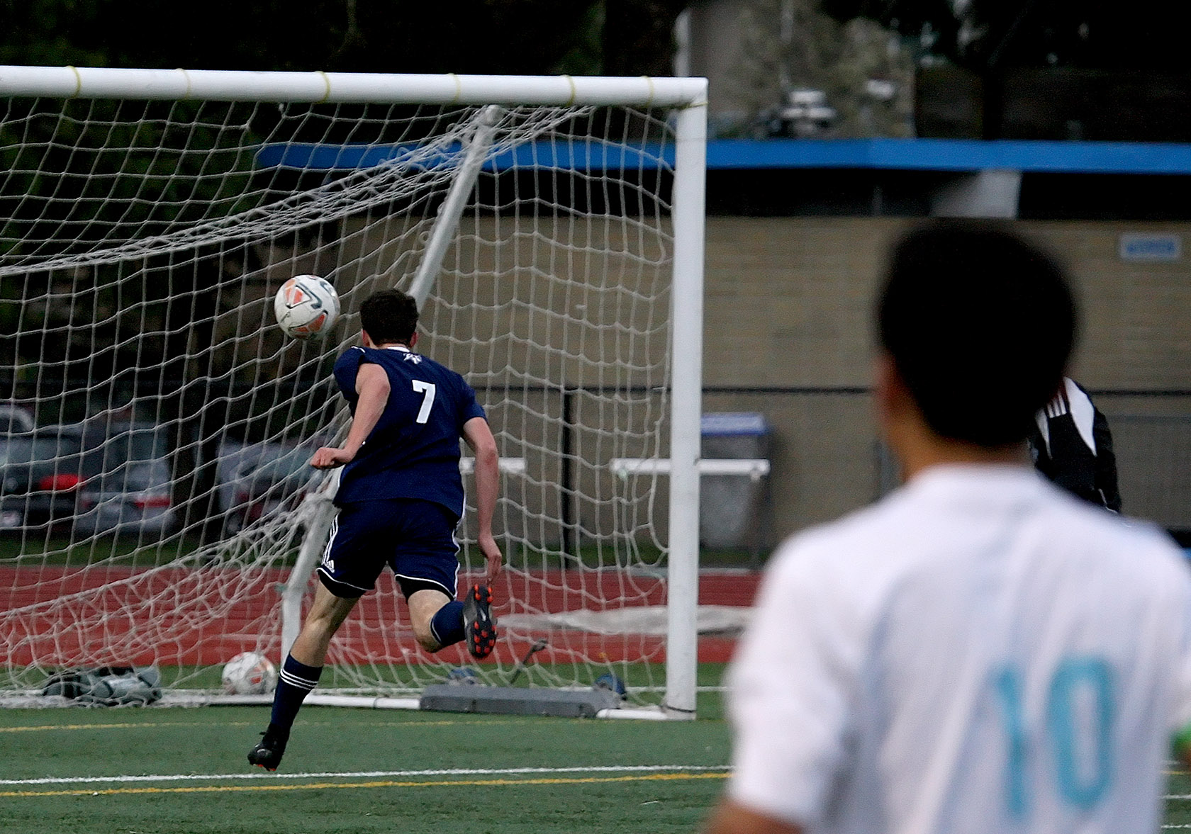 Kaiden Braun of Kennedy Catholic ties the score at 2 as he easily heads the ball into the goal.