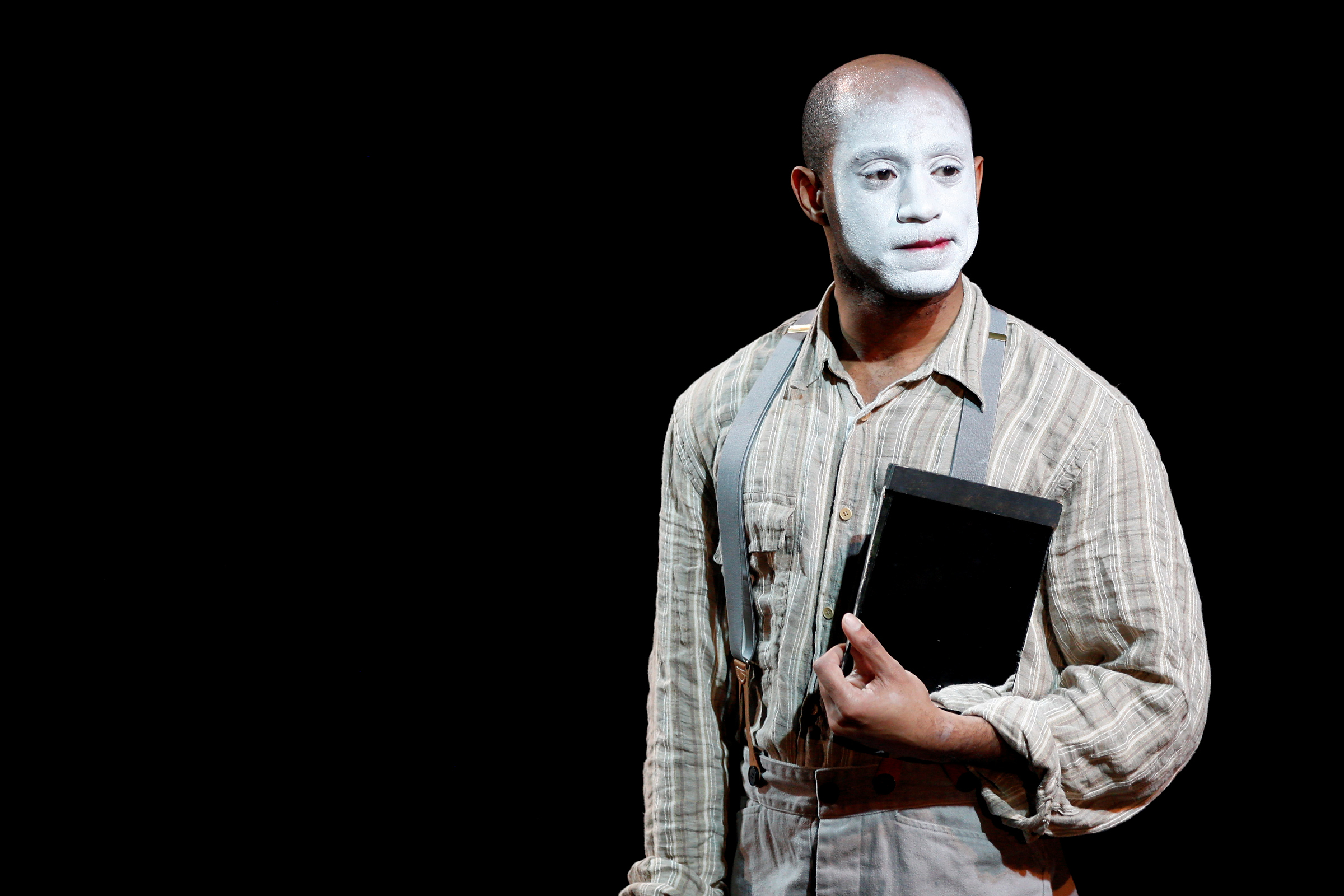 Actor Lamar Legend plays playwright B J J, who then dons white face and stars as George.