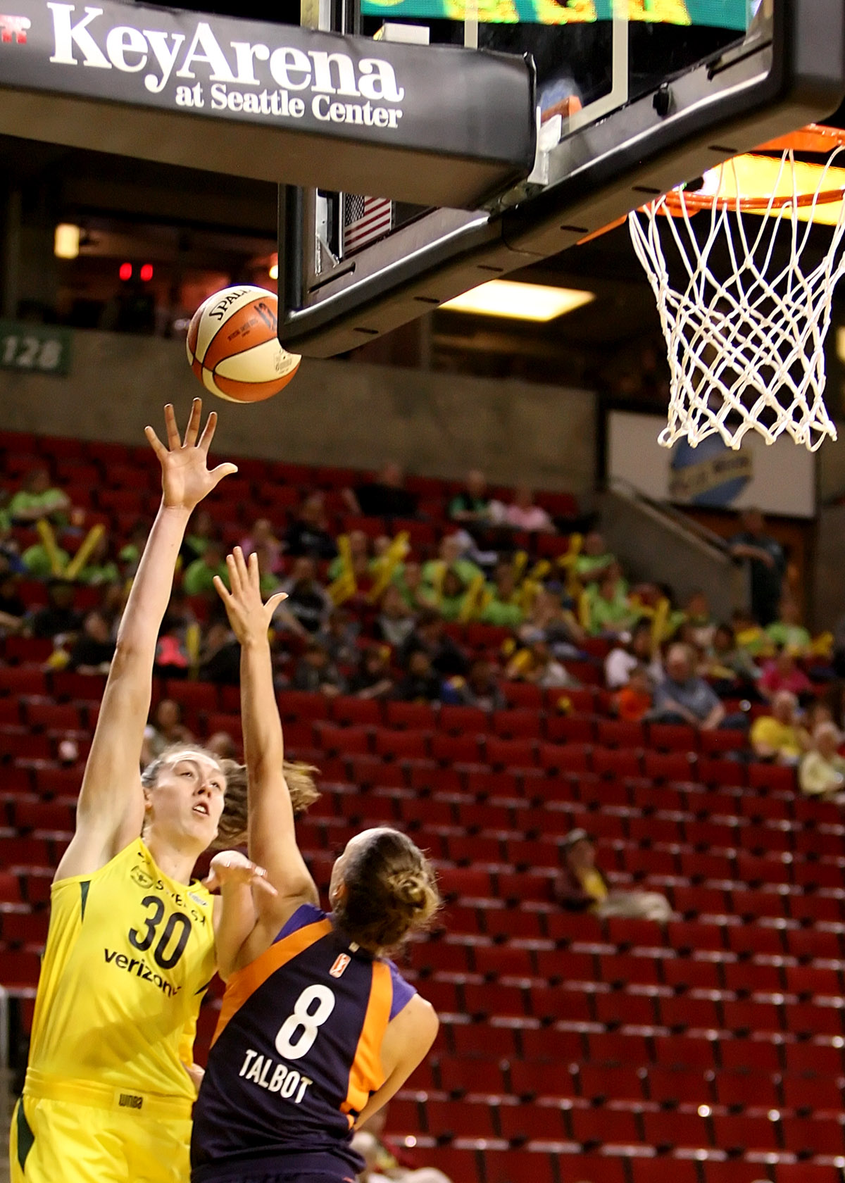 Breanna Stewart of the Storm puts up a shot against the Mercury's Stephanie Talbot.