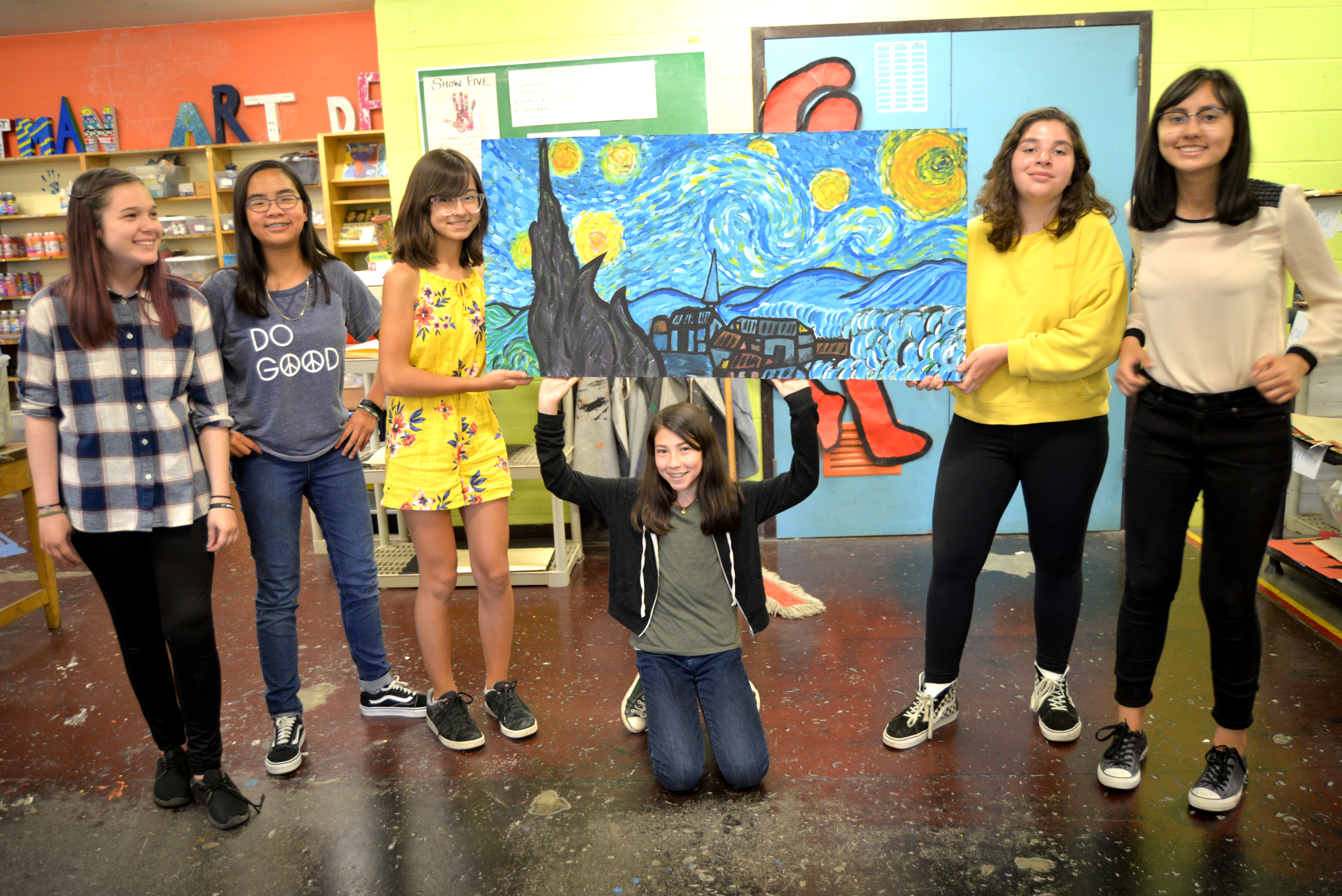 "The school's art club created an homage to ""Starry Night."""