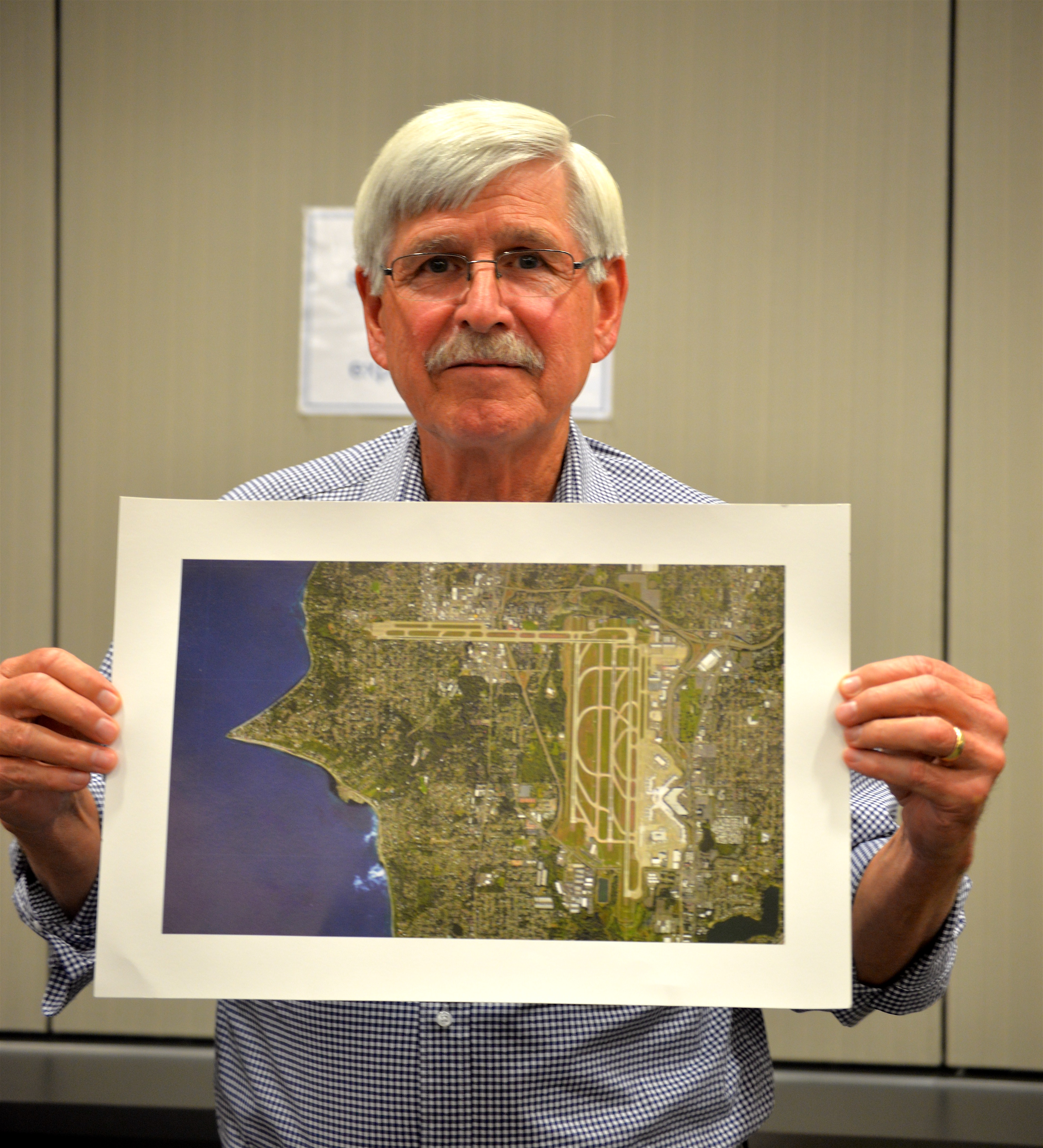 "Larry Cripe, founder of Burin's Quiet Skies Coaltion, showed the committee an image of a ""fourth runway"" that exists overhead"