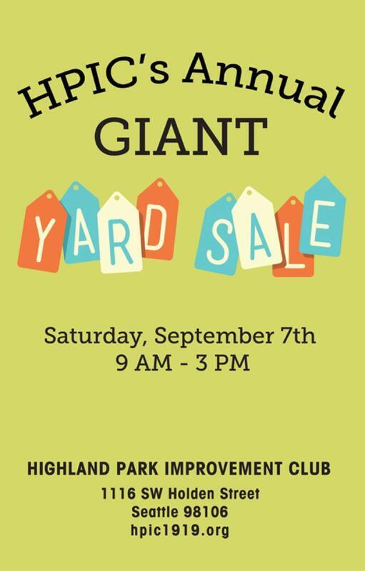 HPiC Yard Sale Sept. 7