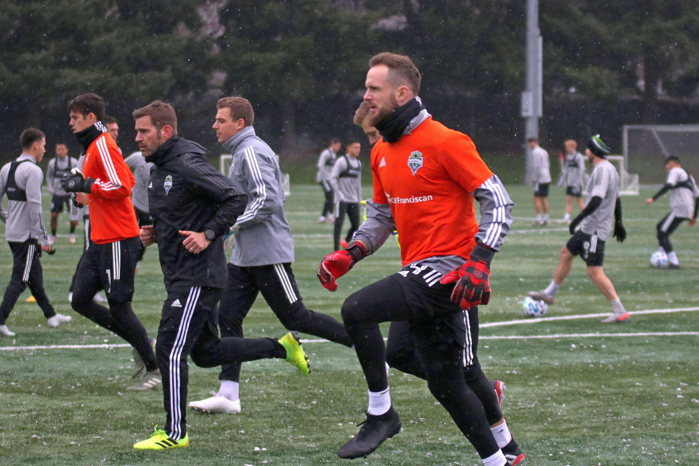 Goalie Stefan Frei and the Sounders start preseason practice in the snow