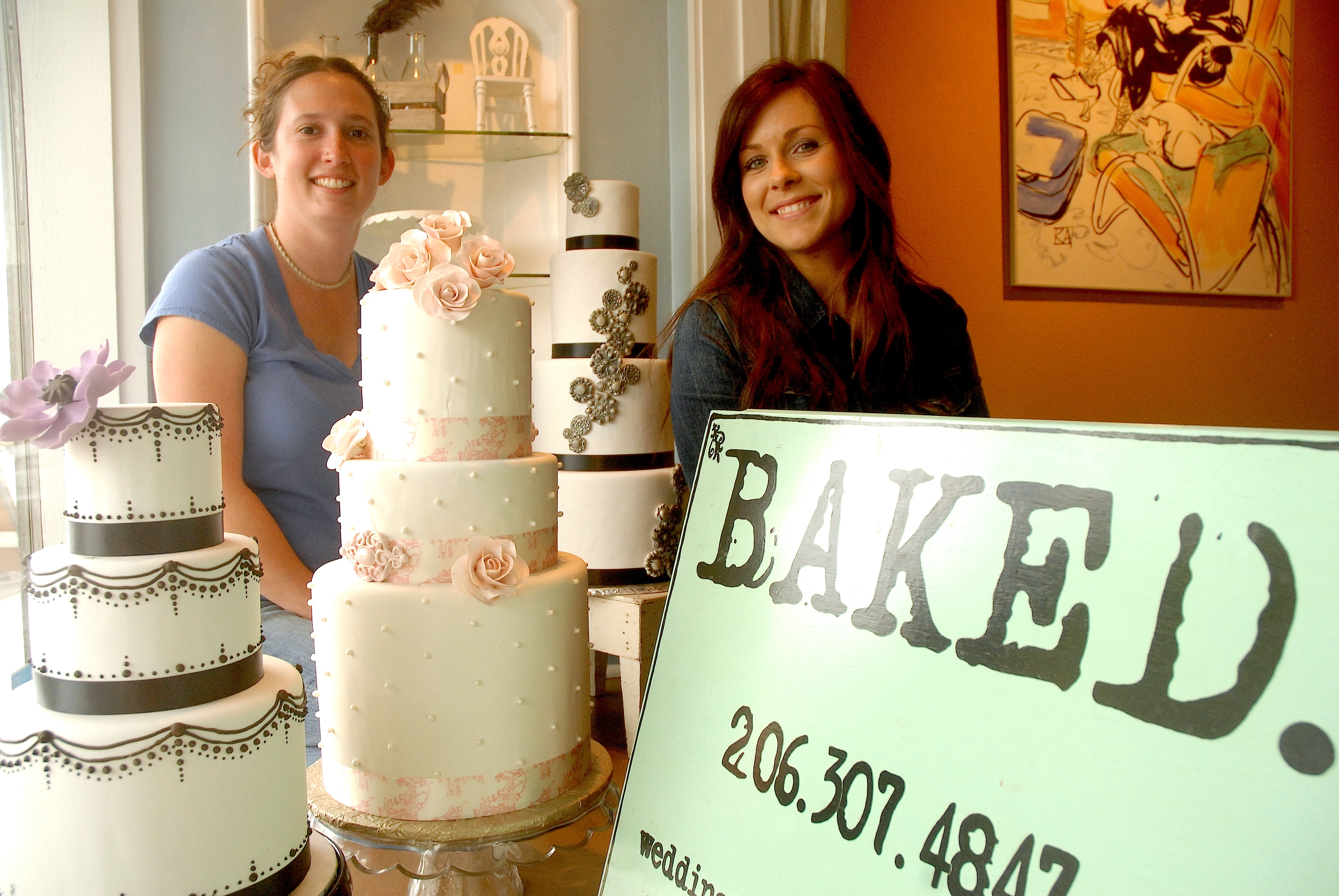 L R Kristina Serfass And Natalie Vorpahl Co Own The Newly Opened Specialty Custom Cake Bakery Called Baked At Admiral Junction