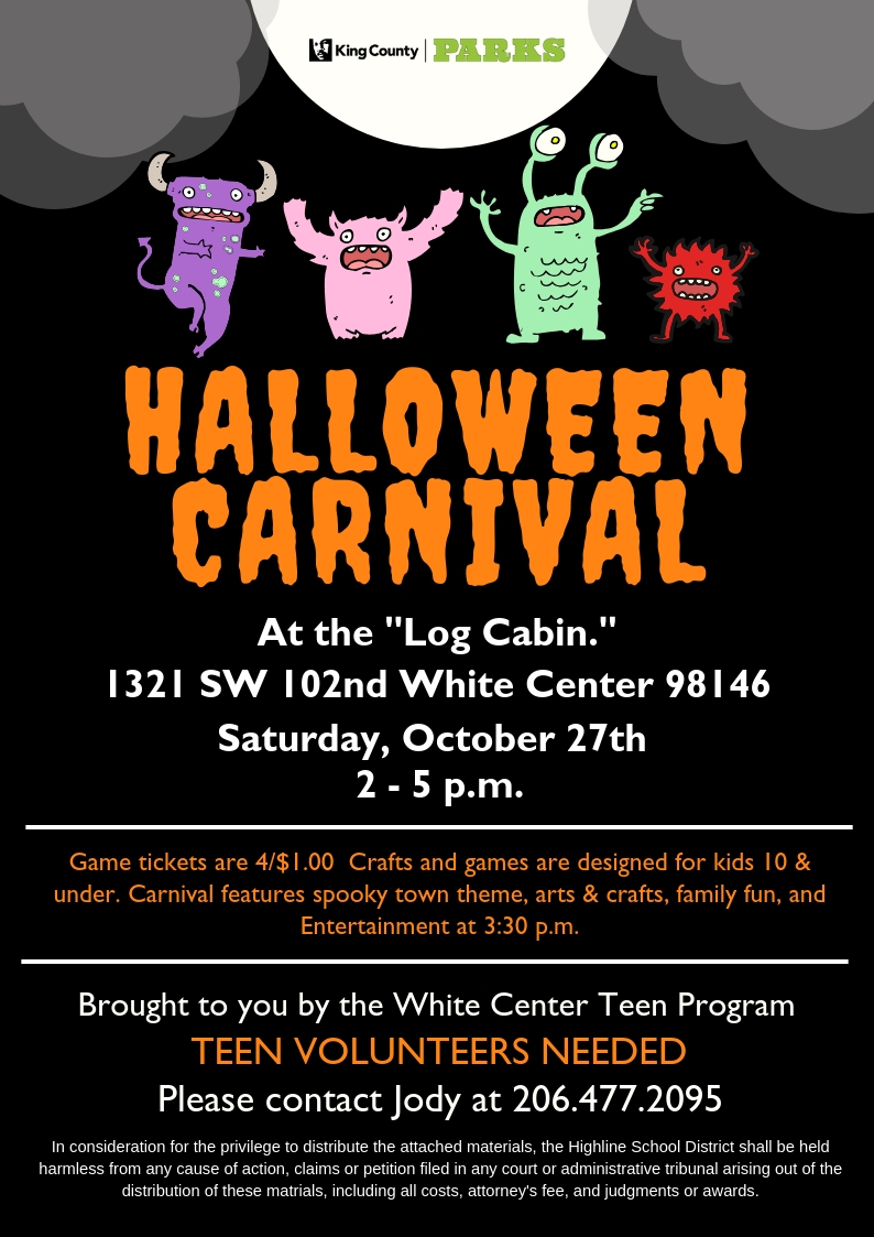 Carnival Halloween Theme.Annual King County Parks Halloween Carnival Set For Oct 27