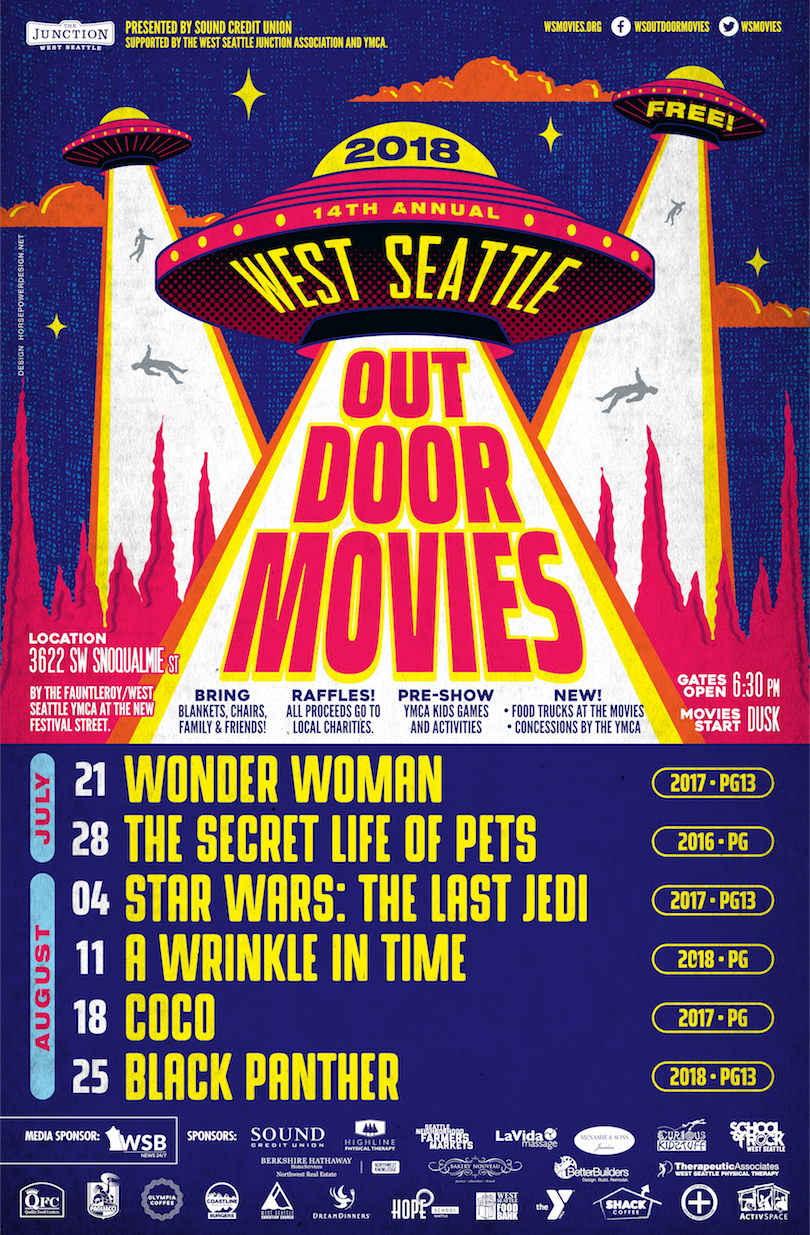 West Seattle Outdoor Movies start July 21 with Wonder Woman