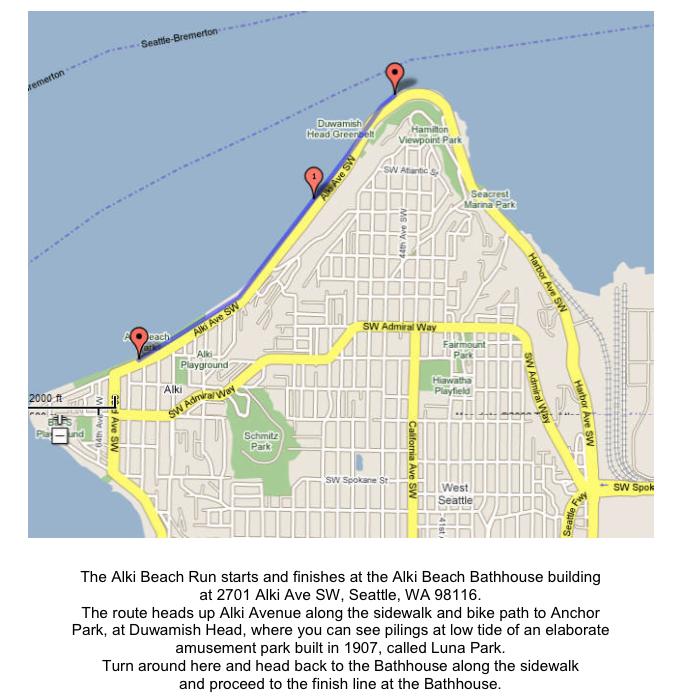 Alki Beach Seattle Map.This Sunday Alki Beach Run Raises Money For Breast Cancer Awareness