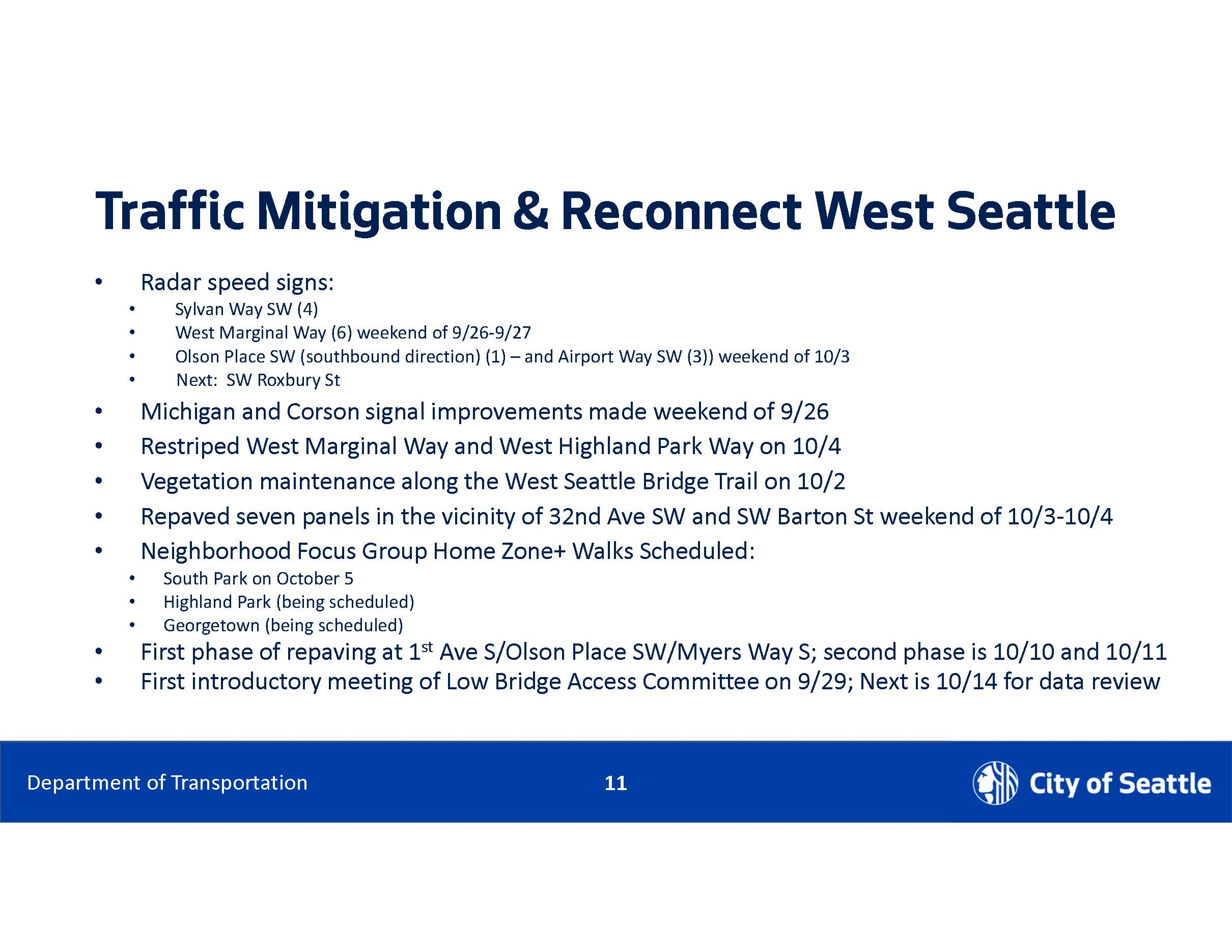 traffic mitigation and reconnect West Seattle