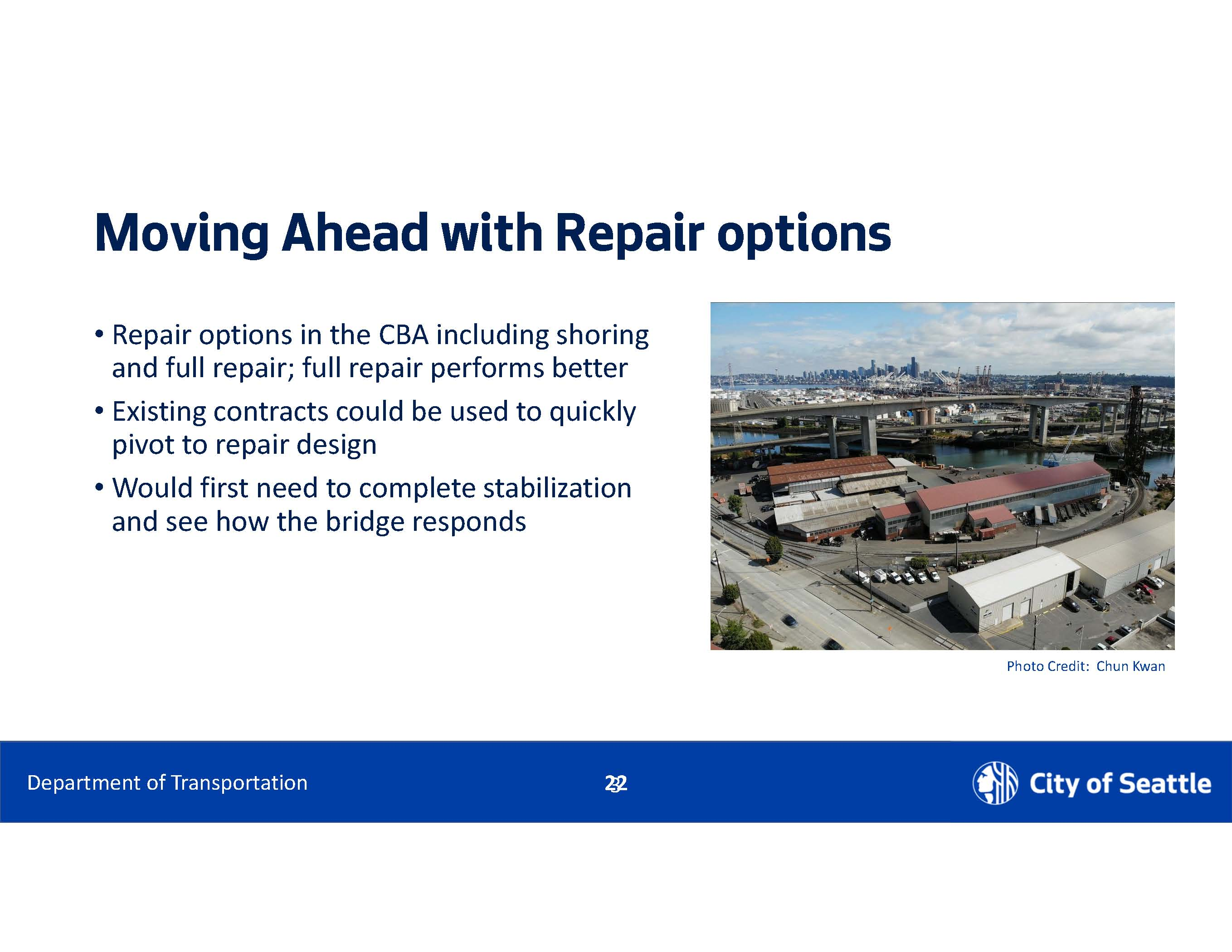 moving ahead with repair options