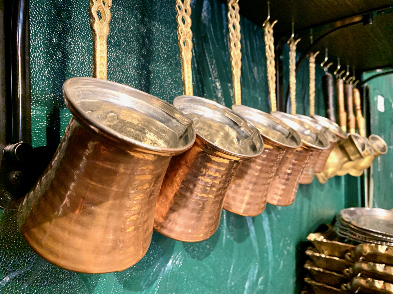 copper containers for Turkish coffee