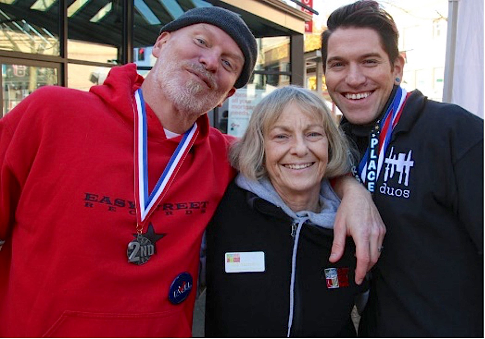 Matt Vaughan, owner of Easy Street, Judi & Ben Jury, co-owner of Duos Catering - 1st and 2nd place winner of the Chili Cook-off of the Harvest Festival 2019