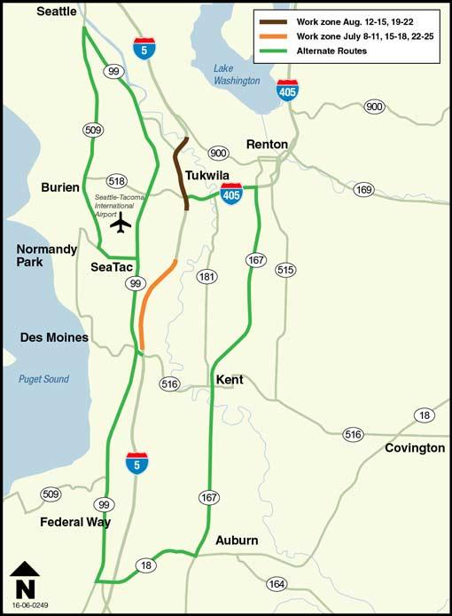 Construction Reduces Lanes On Southbound I 5 In Seatac Eastbound I